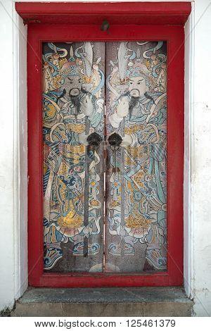 Chinese red door with Iron door handle