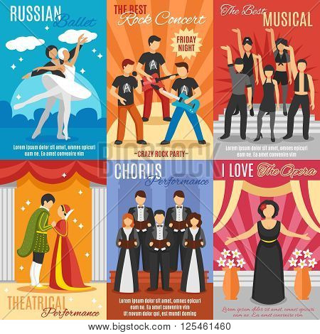 Flat theatre posters set of russian ballet rock and choral concert theatrical and opera performance vector illustration