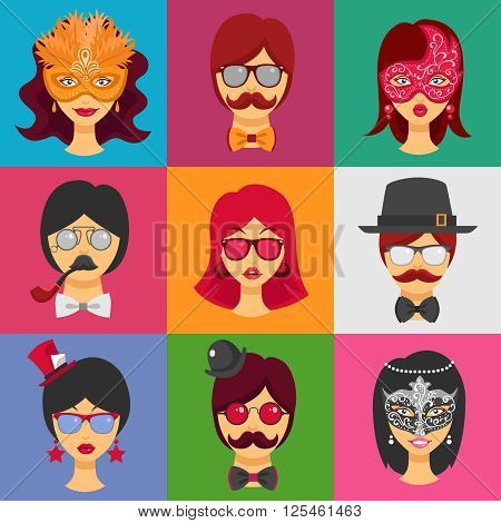 Flat collection of decorative icons with people faces in carnival masks and masquerade attributes  for retro party isolated vector illustration
