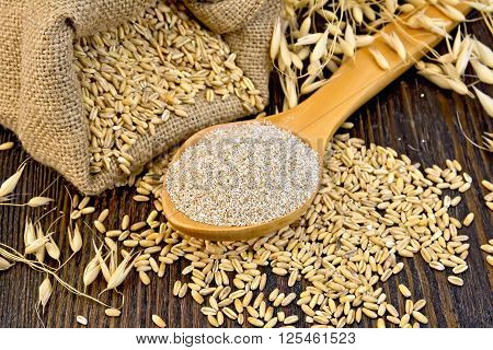 Bran Flakes Oat In Spoon With Grains On Board