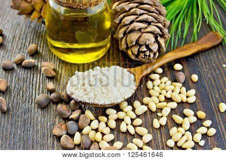Flour Cedar In Spoon With Oil On Board