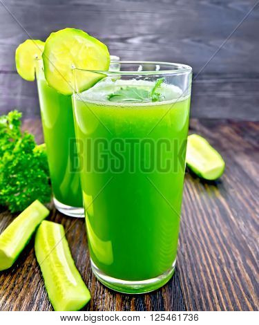 Juice Cucumber In Two Tall Glass On Board