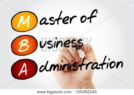 Master Of Business Administration With Marker