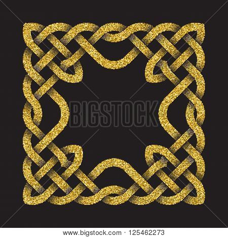 Golden glittering square frame in Celtic knots style on black background.