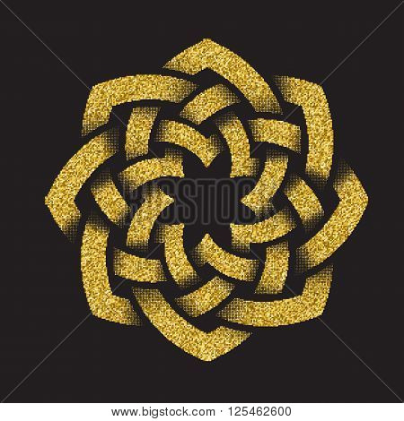 Golden glittering logo template in Celtic knots style on black background. Octagon symbol. Gold ornament for jewelry design.