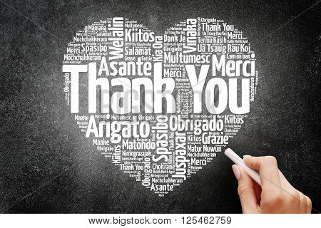Thank You in many languages love heart word cloud concept on blackboard