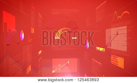 Stock Exchange Chart Graph With A Red Background