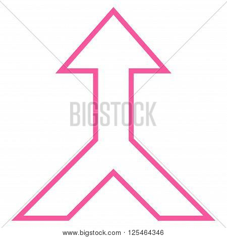 Combine Arrow Up vector icon. Style is contour icon symbol, pink color, white background.