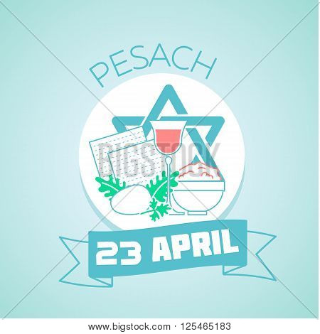 Calendar for each day on April 23. Greeting card. Holiday - Pesach. Icon in the linear style