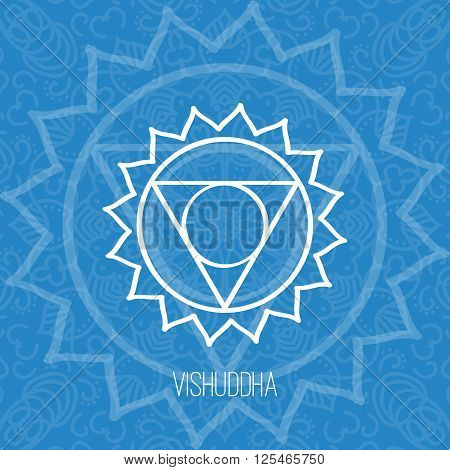 Lines geometric illustration of one of the seven chakras - Vishuddha on the blue background the symbol of Hinduism Buddhism. Hand painted mandala texture. For design associated with yoga and India.