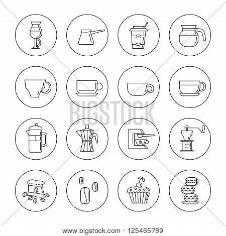 Set of 16 linear coffee icons in the circles included coffee cups coffee machine coffee a bag of coffee cupcakes coffee beans macaroons. Isolated on the white background.