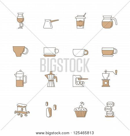 Set of 16 coffee linear with brown color icons included coffee cups coffee machine coffee a bag of coffee cupcakes coffee beans macaroons. Isolated on the white background.