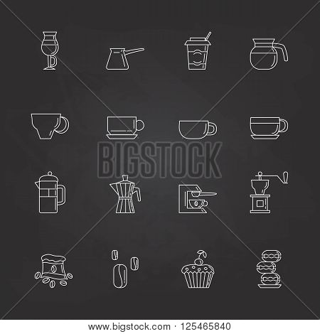 Set of 16 brown linear coffee icons included coffee cups coffee machine coffee a bag of coffee cupcakes coffee beans macaroons. Isolated on the white background.
