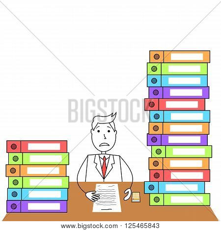 Illustration of cartoon man in suit worried to workload