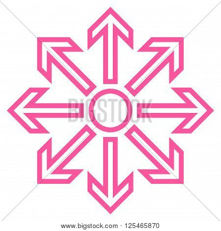 Maximize Arrows vector icon. Style is contour icon symbol, pink color, white background.