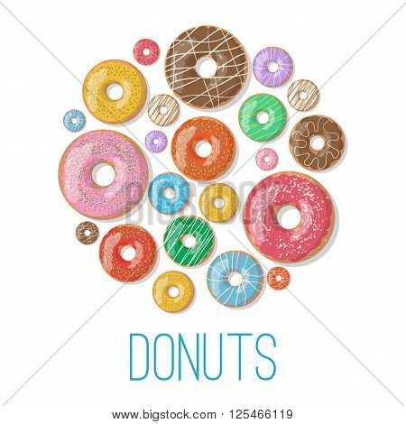 Bright vector banners with donuts illustration isolated on the white background. Doughnut banner in cartoon style for donuts menu in cafe and shop.