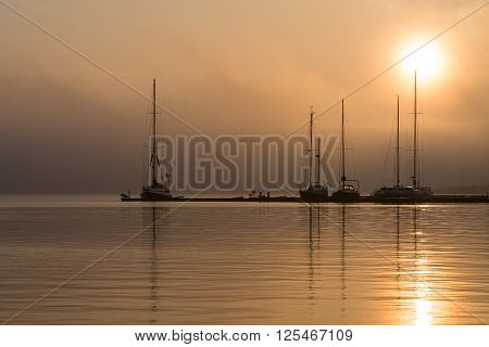 Sunrise in the city port of Rostock (Germany).