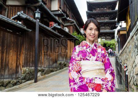 Woman wearing kimono in Kyoto