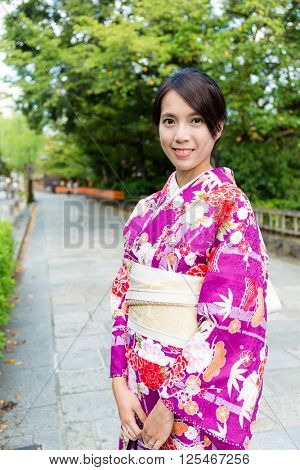 Woman wearing traditional kimono in Japan