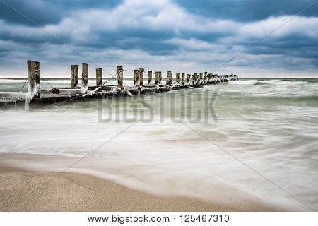 Groyne on the Baltic Sea coast in Zingst (Germany).