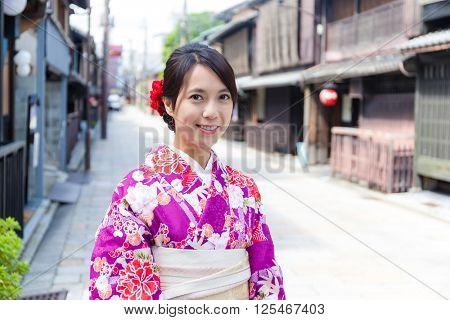 Young Woman wearing kimono in Kyoto
