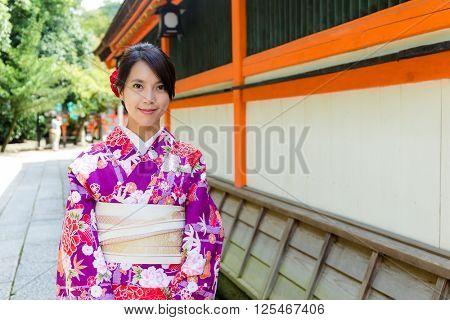 Woman wearing kimono in Japan