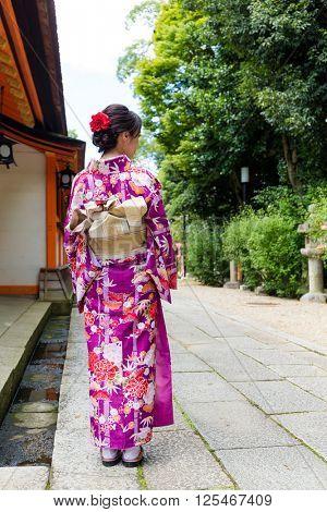 Back view of Woman wearing kimono in Kyoto