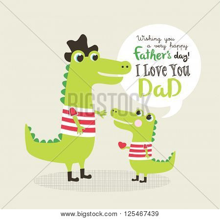 Father's day greeting card with little alligator and father