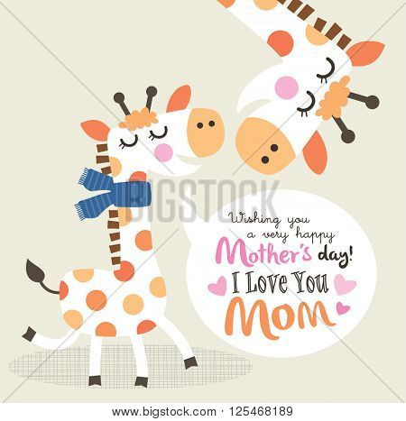Mother's day greeting card with little giraffe and mother