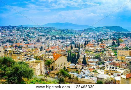 The view on old Nazareth from the top of the hill Israel.