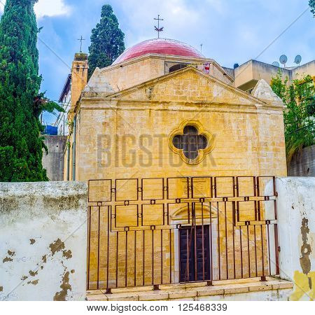 The view on the frontage of the Mensa Christi church that located in maze of streets in old town of Nazareth Israel.