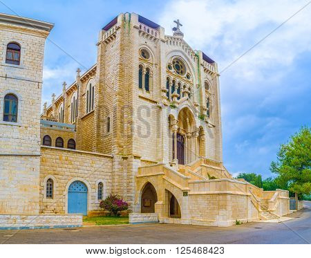 The Selesian Church of Jesus the Adolescent is one of the most beautiful churches in the city built in Neo Romanesque style Nazareth Israel.