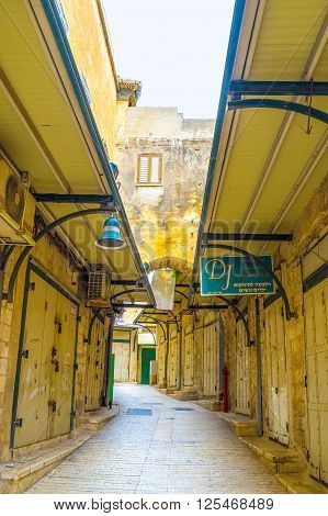 NAZARETH ISRAEL - FEBRUARY 21 2016: The view on the maze of streets of central bazaar on February 21 in Nazareth.