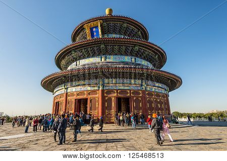 Beijing China - October 15 2013: The Hall of Prayer for Good Harvests at the complex of religious buildings in Beijing known as the Temple of Heaven. The original building burnt down in 1889 following a lightning strike and was rebuilt some years later.