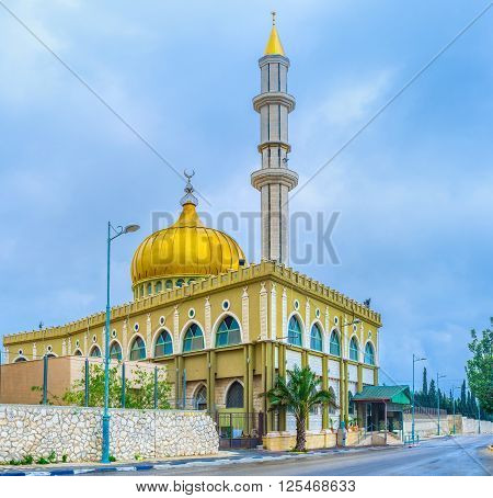 The beautiful Makam Al-Nabi Sain Mosque is a fine example of islamic architecture of XXI century Nazareth Israel.