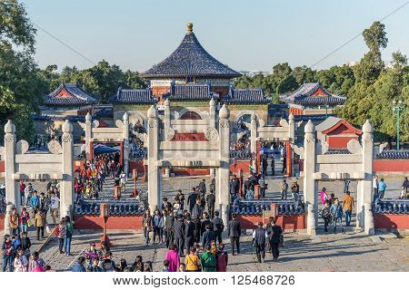 Beijing China - October 15 2013: A lot of tourists visit a Temple of Heaven or