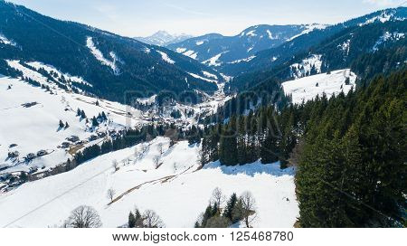 Ski Area Dienten  Hochkonig, Austria Alps In Winter