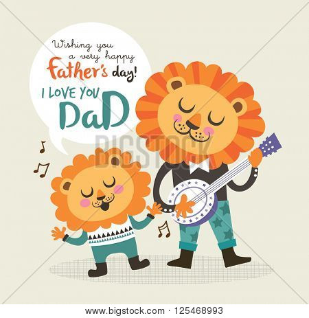 Father's day greeting card with little lion and father