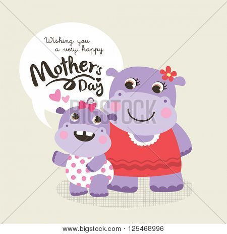 Mother's day greeting card with little hippo and mother