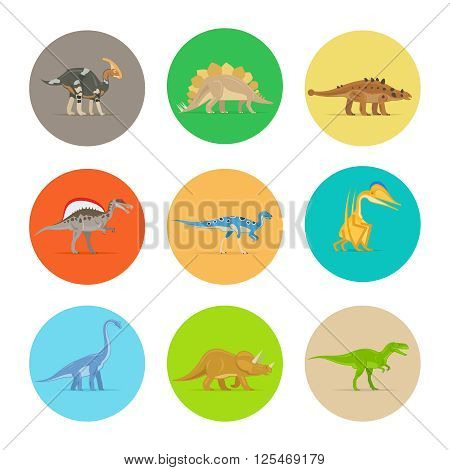 Dinosaurs flat colorful icons. Different types of dinosaurs in colored circles. Vector illustration