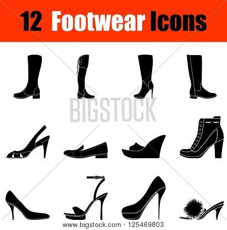 Set Of Woman's  Footwear Icons
