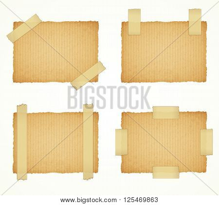 vector cardboard labels attached with a sticky tape on white background