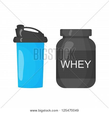 Protein and shaker icon isolated on the white background. Sports equipment illustration set for gym or fitness club flayers in flat design.