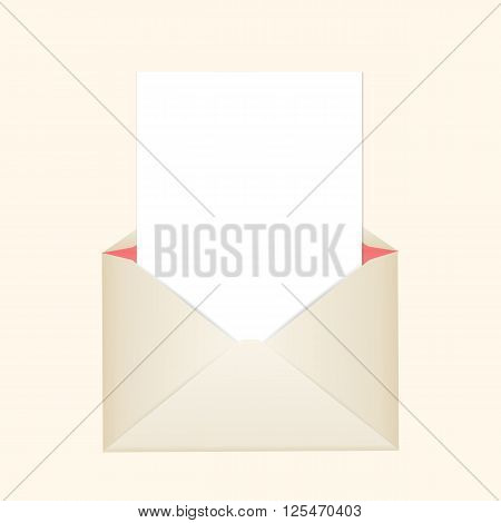 Postal clean envelope with piece of paper for greeting cards or for your wedding invitations or thank you cards