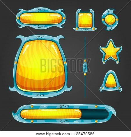 Fantastic vector game user interface assets. User interface game design. Buttons boards signs bar download.