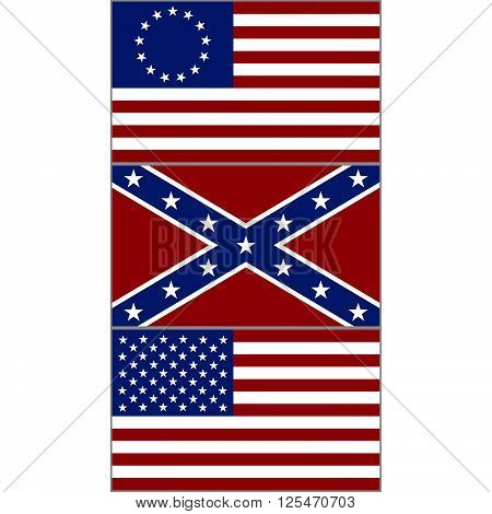 Flags of the Confederacy, and the United States during the American Civil War. The illustration on a white background.