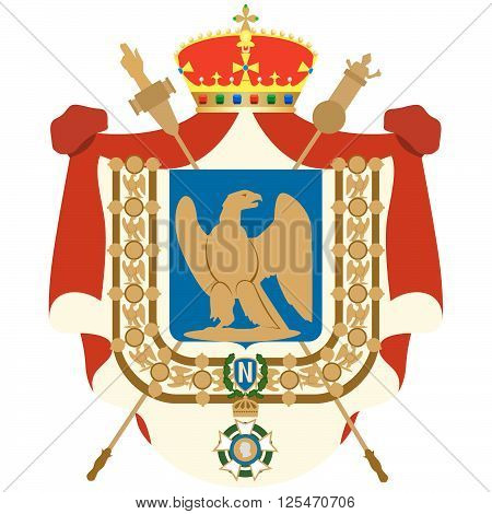 The coat of arms of France during the reign of Emperor Napoleon. The illustration on a white background.