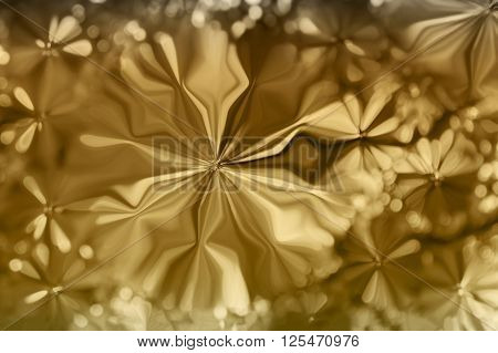 Abstract Golden Colour Flowers Shape Pattern Design Background
