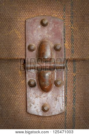 Old Canvas Trunk Hinge Close Up