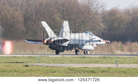 Leeuwarden, Netherlands - April 11, 2016: Finish Air Force F-18 Hornet Landing During The Exercise F